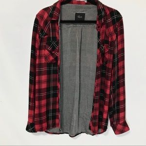 Rails Plaid Flannel Thick Red Black Button Shirt